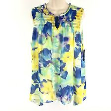 New Direction Women's Sleeveless Top Tunic Smocked Keyhole Floral Large NWT $44