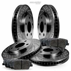 Full Kit Black Drilled Brake Rotors and Ceramic Pads For 2008-2014 Cadillac CTS