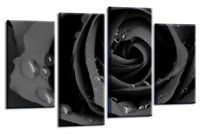 LARGE GREY ROSE MULTI 4 PANEL FLORAL FLOWER SPLIT CANVAS PICTURE WALL ART 100cm