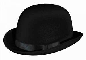 Melone Bowler schwarz mit Ripsband und Hutband