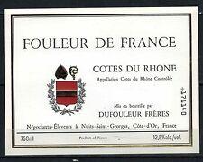 Etiquette de Vin - Alcool -Fouleur de  France -  Côtes du Rhone  - Réf.n°111
