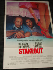 Stake Out folded movie promo poster Richard Dreyfuss Emilio Estevez comedy