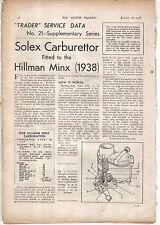 Hillman Minx 1938 Solex Carburettor Motor Trader Service Data No. 21