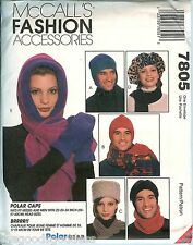 McCalls 7805 POLAR GEAR Winter Hats Scarves Mittens Pattern Unisex UNCUT FF S-L