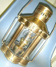 "Older Maine USA All Brass Ship's Oil Lantern & Hook Mount 12,5"" Beveled Glass"
