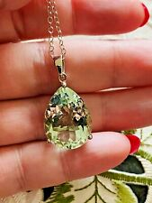 """18"""" 14.79ct Green Amethyst Pendant Necklace in Platinum Over Sterling Silver"""