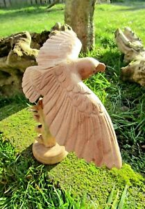Fair Trade Indonesian Hand Carved Made Wooden Bird Of Prey Eagle Parasite Statue