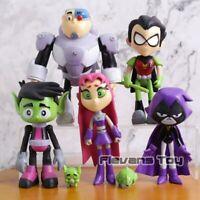 7PCS/set Teen Titans PVC Action Figures Go Robin Cyborg Raven Beast Boy Kids Toy