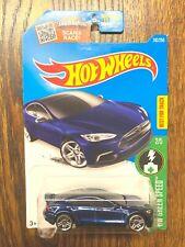 Hot Wheels 2016 Tesla Model S blue silver wheels
