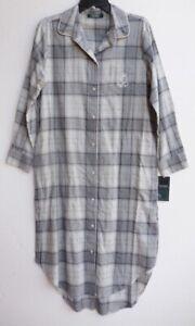 Ralph Lauren Grey Metallic Plaid Flannel Long Sleep Shirt Nightgown Size PS NWT