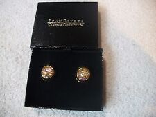 JOAN RIVERS Button Earrings AMAZING Dimensional NIB Goldtone Brown Clip Free Shp