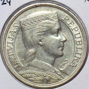 Latvia 1929 5 Lati Lion animal AU 490473 combine
