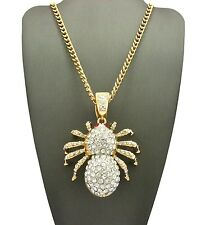 "NEW ICED OUT SPIDER PENDANT & 5mm/30"" CUBAN CHAIN HIP HOP NECKLACE - CP190GT"