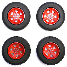 Lego Technic Set of 4 Large Red Wheels Hubs and Black Tyres Tires 94.3x38mm NEW