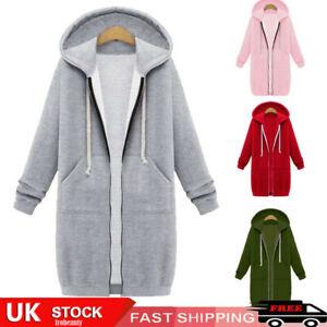 Women Hoodie Long Sleeve Zip Hooded Hoodie Jumper Jacket Cardigan Coat Plus Size