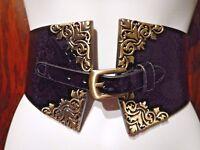 FAUX SNAKESKIN PATENT BLACK BELT bronze rococo filigree buckle steampunk obi 8Z