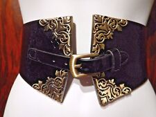 FAUX SNAKESKIN PATENT BLACK BELT bronze rococo filigree buckle steampunk obi 8Z