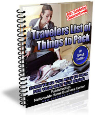 TRAVELERS LIST OF THINGS TO PACK PDF EBOOK FREE SHIPPING RESALE RIGHTS