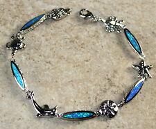 Silver Elegant Blue Fire Opal Bracelet Sea Animals Crab Turtle Dolphin Star