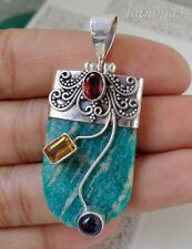 Solid Silver, 925 Multi Gemstones Bali Handcrafted Turquoise Pendant 26571