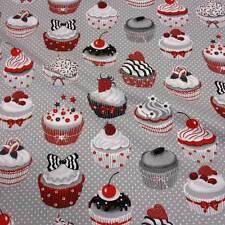 Stoff Meterware Baumwolle Törtchen Muffins Kuchen grau weiß Punkte Cupcake Neu
