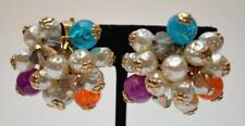 Vntg 50s Pat Pend Goldtone Dangle Faux Pearls Art Glass Beads Clip-On Earrings