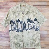 Winnie Fashions Men XL Vintage Hawaiian Shirt Palm Trees Surfboards Button Front