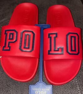 POLO RALPH LAUREN CAYSON RED & NAVY BLUE POLO LOGO Slide Sandals SZ 10