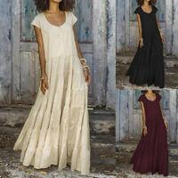 Women Sleeveless O-Neck Button Long Shirts Dress Casual Loose Flare Maxi Dresses