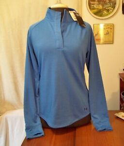 Under Armour Loose Womens Blue Polyester Pullover Casual Activewear Top Sz M