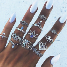 13 Pcs/Set Silver Midi Finger Ring Set Vintage Punk Boho Knuckle Rings Jewelry