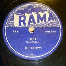 THE CROWS doo-wop  78 GEE b/w I LOVE YOU SO on Rama in VG+++ condition  RJ 797