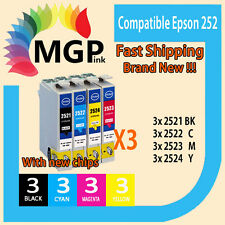 12x Generic Ink  252 for Epson WF-3640 WF-7610 WF-7620 Printer