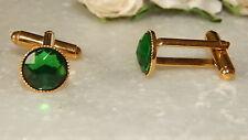 G/P Cufflinks & 10mm Emerald Green Resin Stones.Unisex-Wedding - Accessories