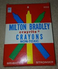 Vintage 1950s Milton Bradley Crayrite Crayons Boxed Set of 8 brand new