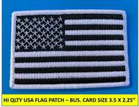 """USA AMERICAN FLAG BLACK/WHITE EMBROIDERED PATCH IRON-ON SEW-ON BORDER(3½ x 2¼"""")"""