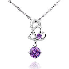 """17"""" Stylish Silver Plated Heart Pendant Necklace with Purple Cubic Zirconia New"""