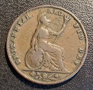 UK Great Britain 1841 Farthing - Victoria - Early Date!