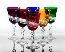Box of 6 Hand Cut 24% Lead Large Wine Crystal Glasses 220ml NEW COLOR COLLECTION