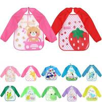 Long Sleeve Waterproof Coverall Baby Animals Toddler Scarf Feeding Smock NEW