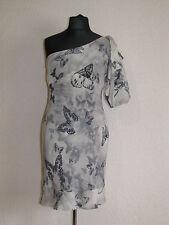 Gorgeous Karen Millen silk butterfly cream grey one sleeve dress UK 10 EU 36