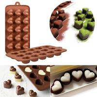 Chocolate Mold Mould Bar Block Ice Silicone Cake Candy Baking 15Grid Heart Shape