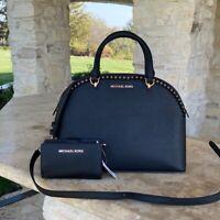 NWT Michael Kors Large Emmy Dome satchel handbag leather /wallet black/rose gold