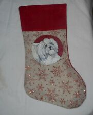Havanese Dog Hand Painted Christmas Gift Stocking Holiday Decoration