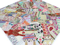 Indian Patchwork Quilt Handmade White King India Bedspread Boho Bed cover Q1