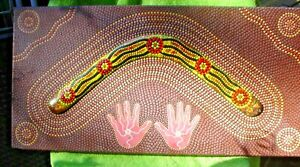 ORIGINAL ABORIGINAL HAND PAINTED BOOMERANG MOUNTED ON CANVAS 61 X 31 CM SIGNED