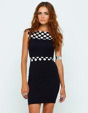Motel Mesh Dress in Black/Cream
