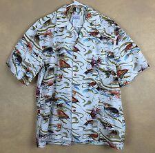 Seawind Flyfishing Tackle Themed Hawaiian Shirt Size L