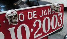 2 Custom SKULL License plate tag frame bolts MOTORCYCLE skeleton harley truck