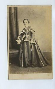 Woman In Long Dress & Decorative Jacket c1860s CdV Photo